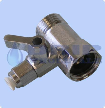 Chrome take off valve 15mm BSP - 15m BSP ¼ QC with tap